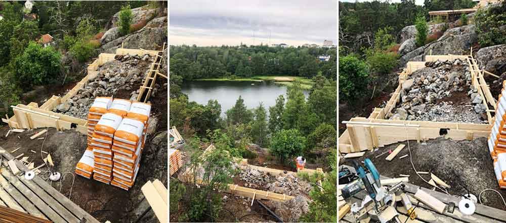 Tre bilder från ett växthusbygge på svår mark.