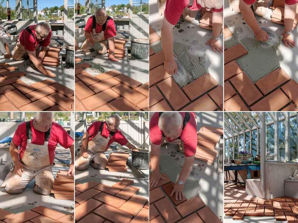 Arbetsprocessen för golv i samband med växthusbygge.