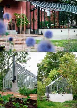 Växthus med sadeltak eller pulpettak.