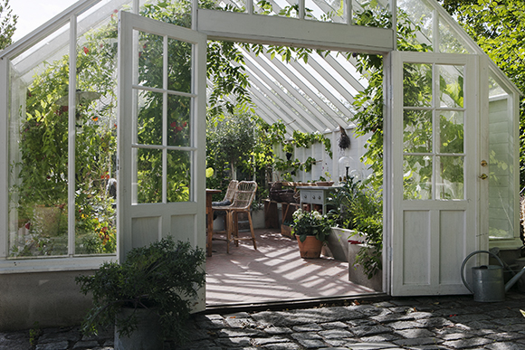 växthus med öppen dorr