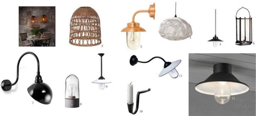 Kollage med belysningsarmaturer för växthus.