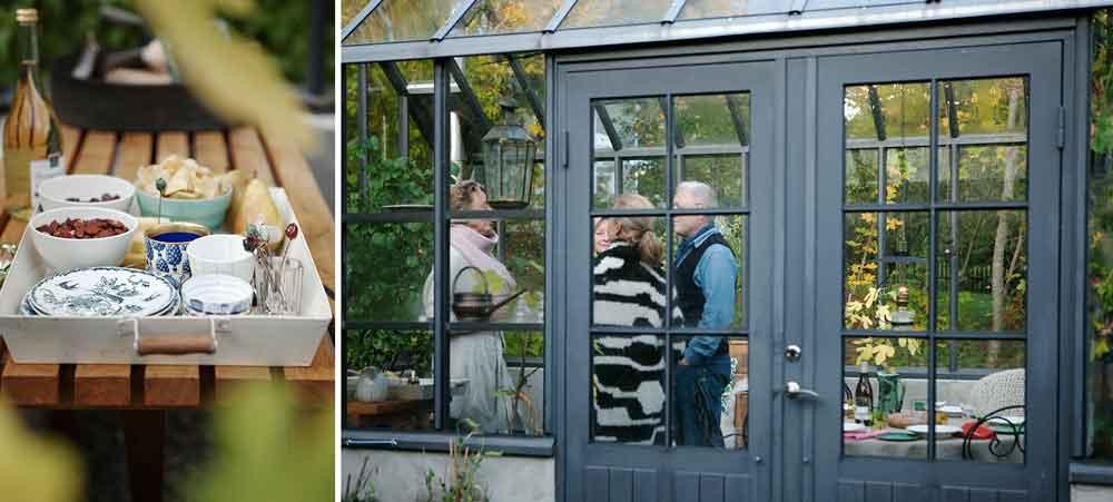 Uppdukat för fördrink på bricka och fyra gäster i grått växthus.