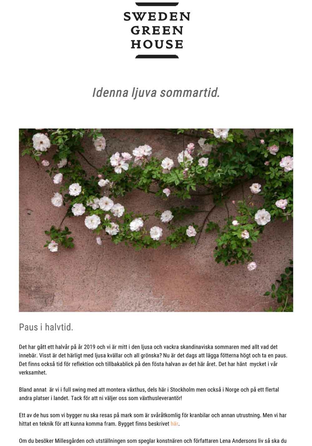 bild på klätterros och text från vårt nyhetsbrev.