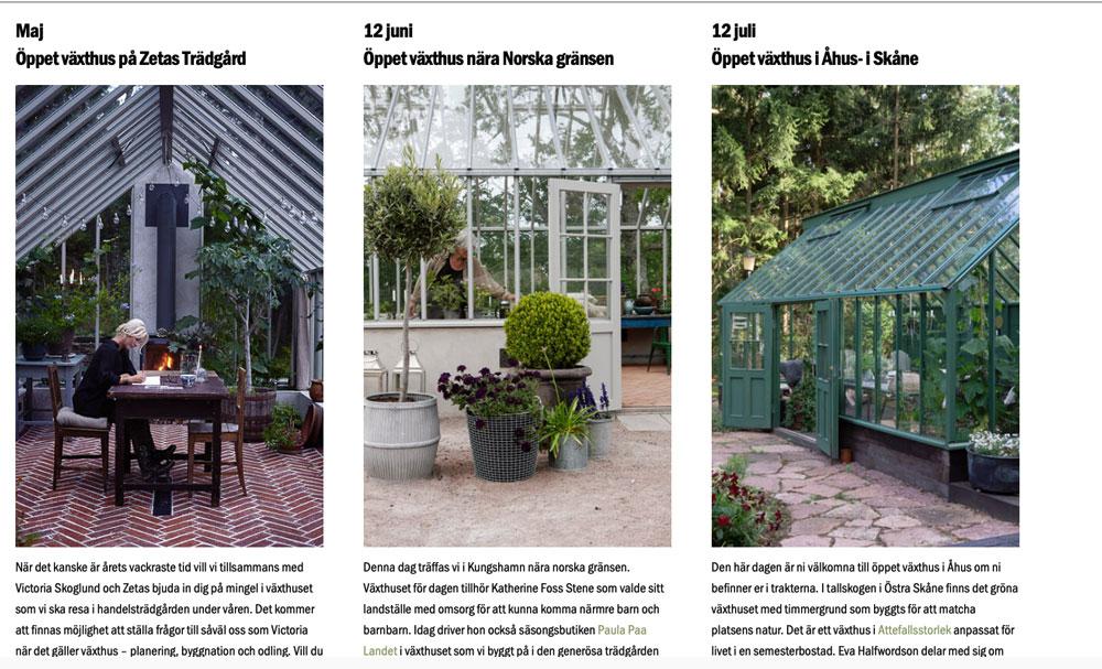 en kvinna vid ett bord och två växthus.