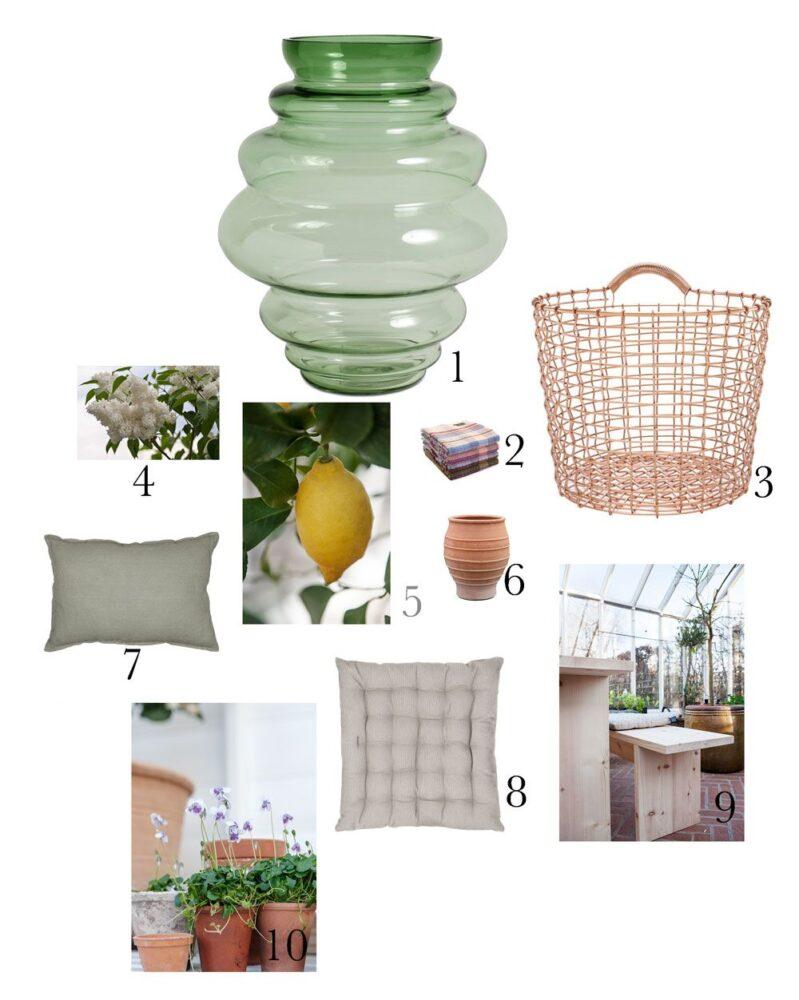 Kollage med prylar för att skapa kalas i växthus.