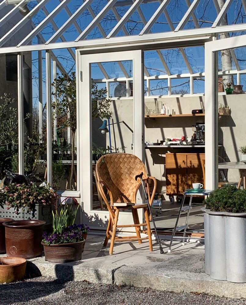Rottingstol på avsats framför växthus.