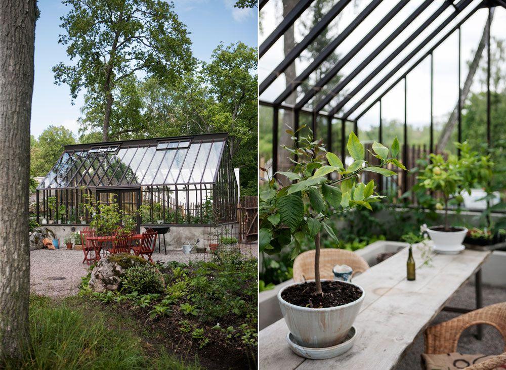 Olika möbler för trädgård och växthus.