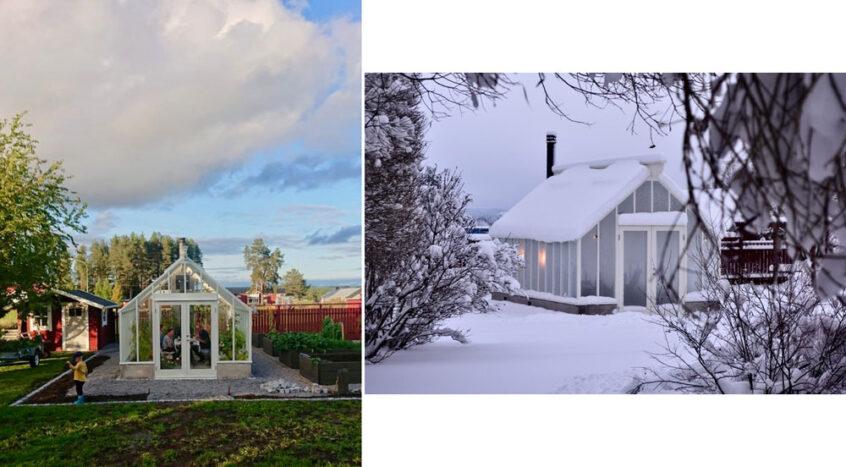 Ett växthus i Norrbotten sommar- och vintertid.