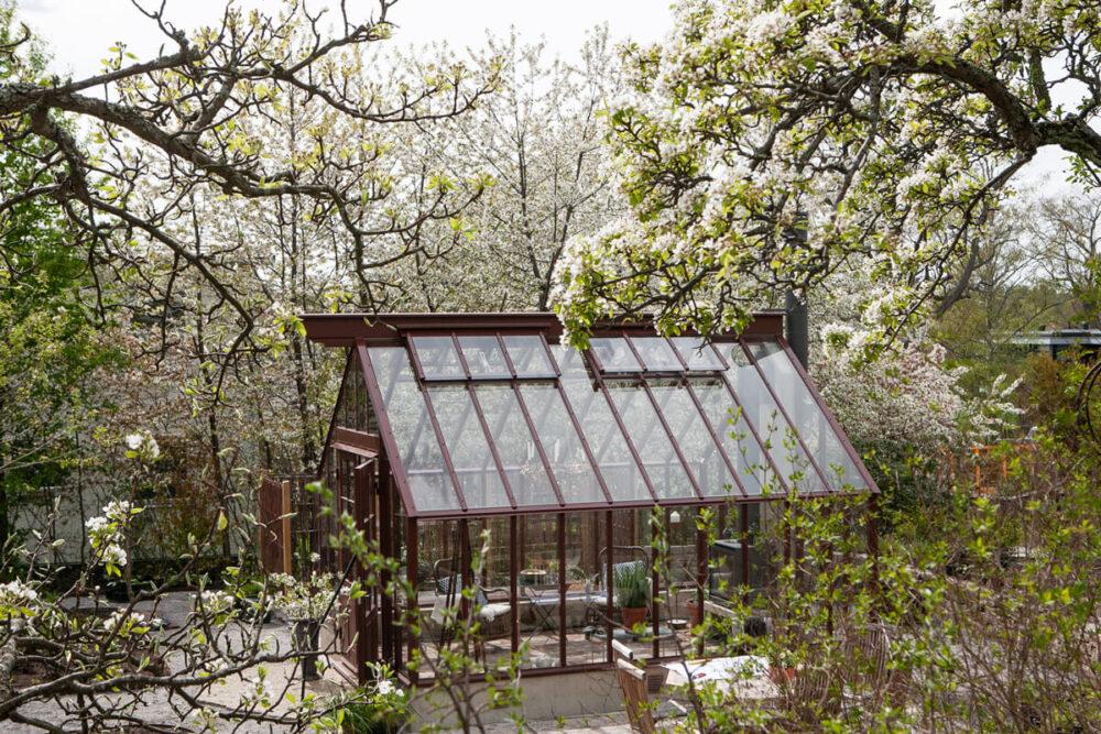 Brunt växthus på Lidingö