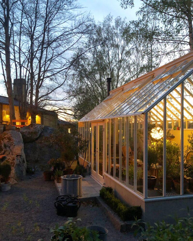 Växthus i kvällsljus.