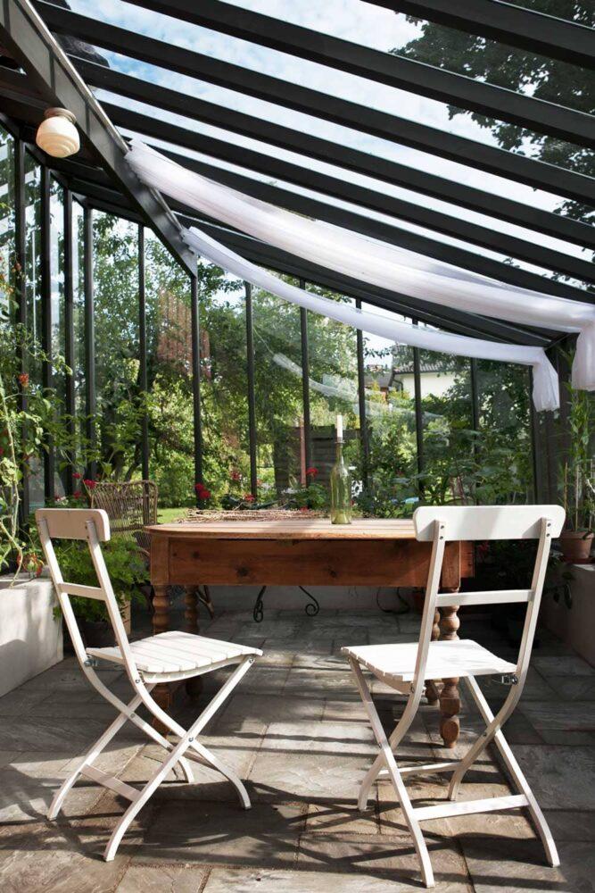 Skuggardiner i växthus.