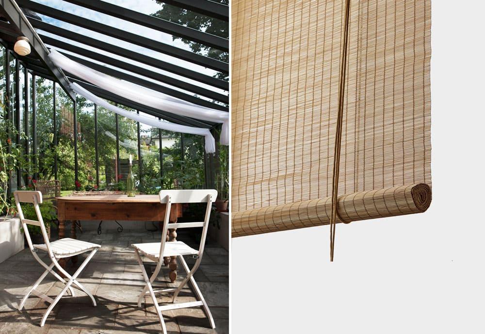 Skuggardiner i linnetyg och bambugardiner.