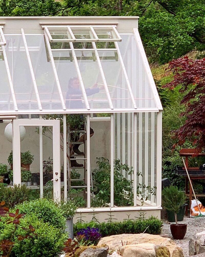 Man på stege monterar rör i växthus.