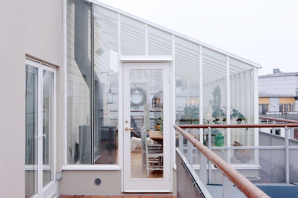 Växthus på terrass.