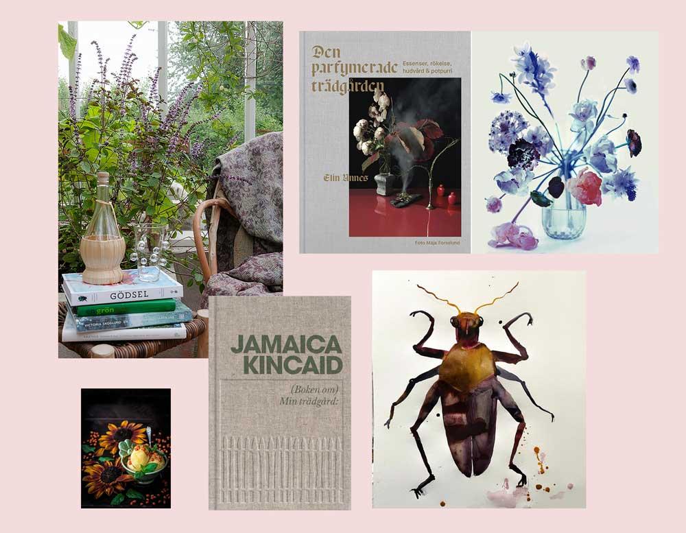 Kollage med böcker konst och fotografier.