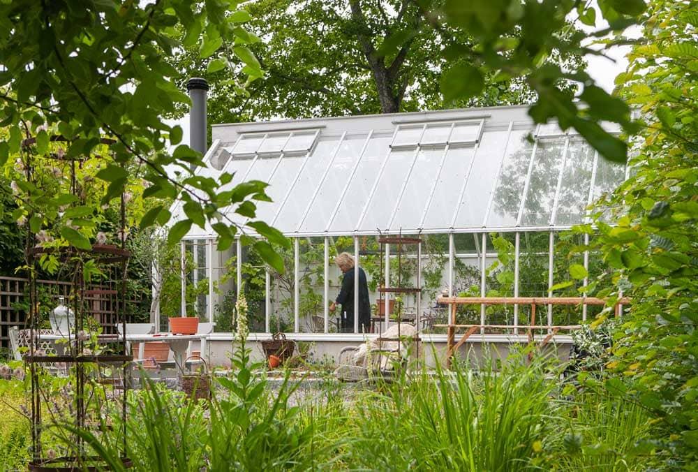 Vitt växthus i trä och glas.