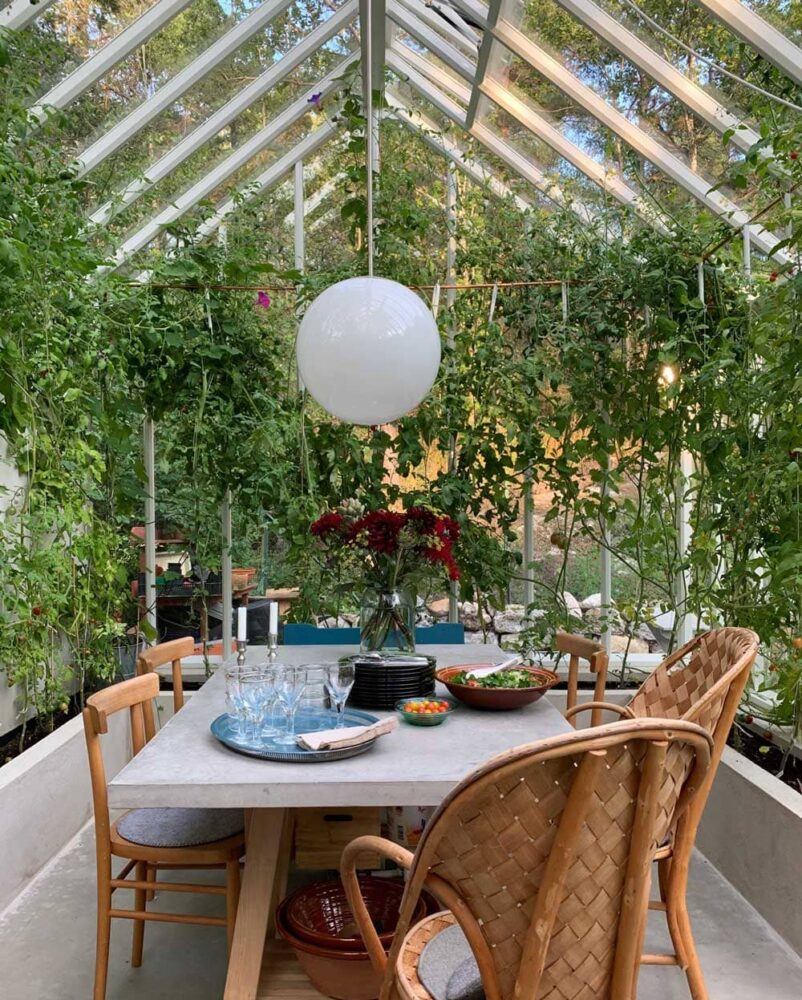 Festbord i växthus.