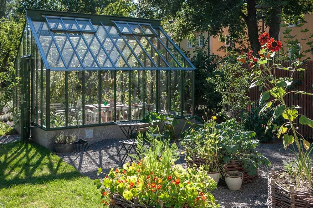 Växthus och flätade rundlar med grönsaker.