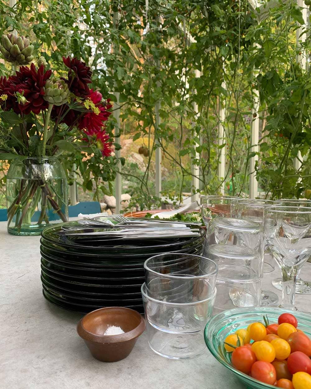 Middagsförberett festbord i växthus.