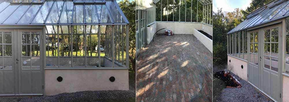 Växthusmontör på stege i ett pågånde växthusbygge.