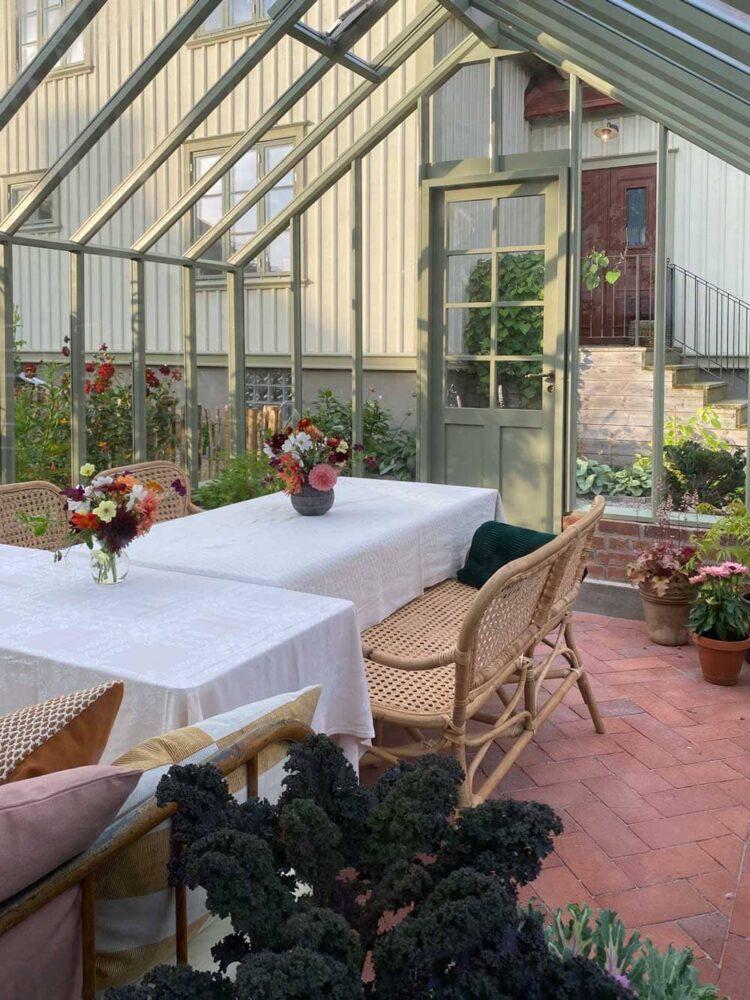 Interiör i grönt växthus.