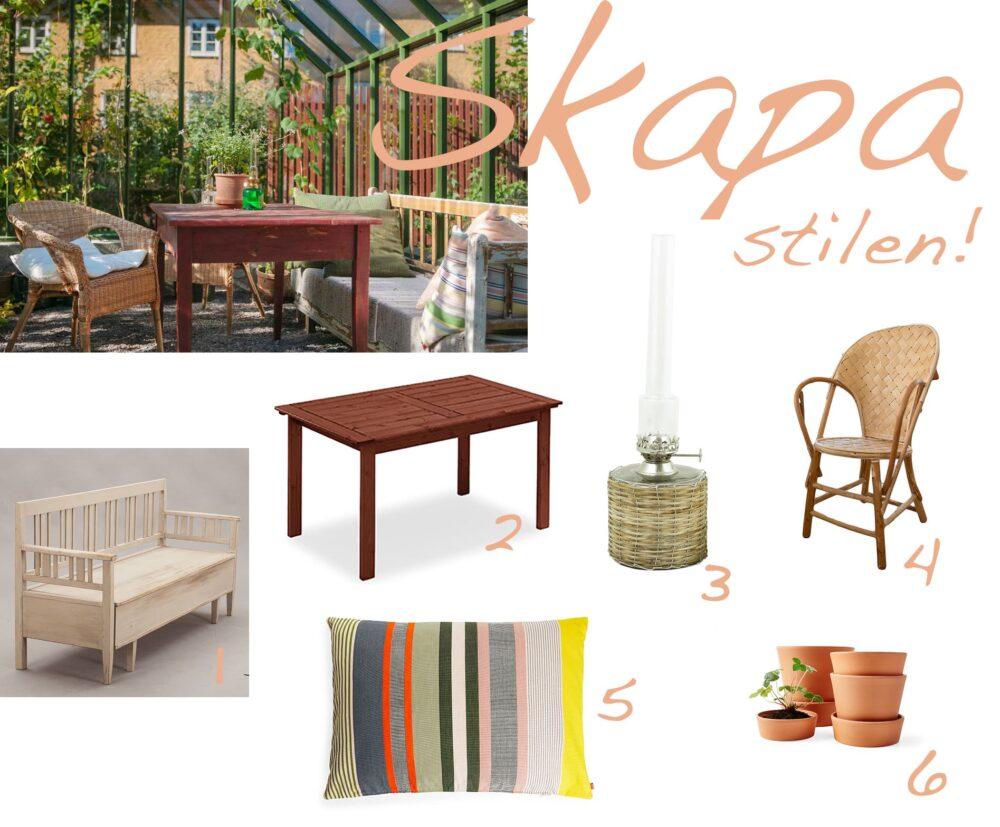 Kollage med möbler och växthusinredning.