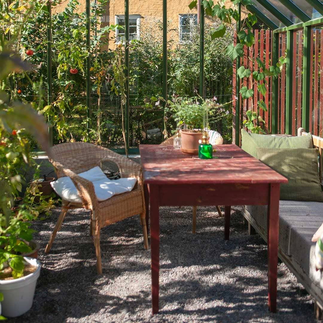 Inredning i grönt växthus.