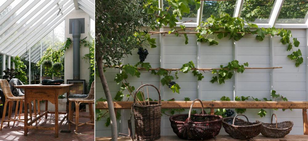 Växthusmöbel och korgar.