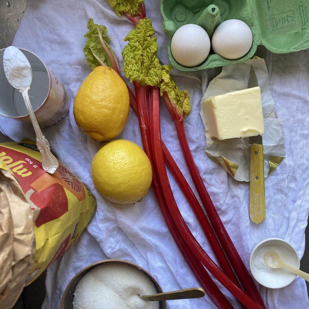ingredienser till rabarberkaka