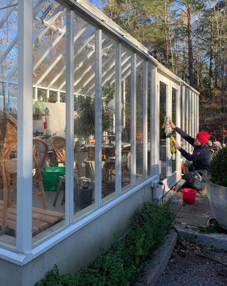 Man putsar glas på växthus.