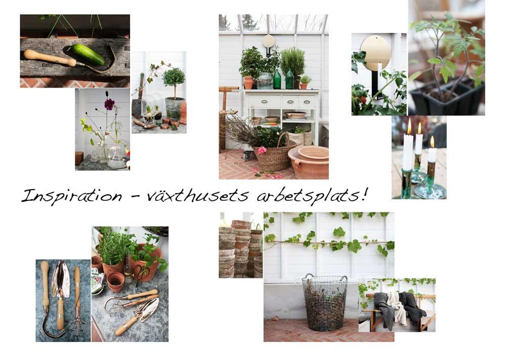 Bildcollage för att skapa växthusets arbbetsplats.