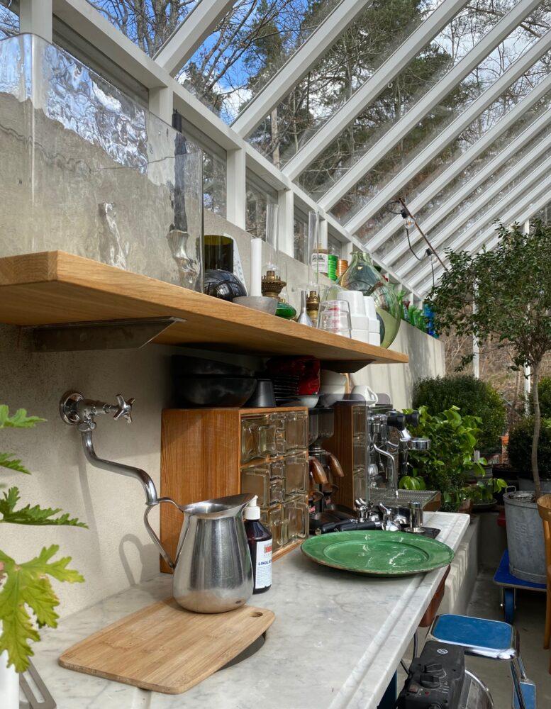 köksbänk i växthuset