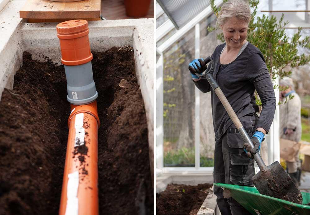 Kvinna tömmer odlingsbäddar i växthus.
