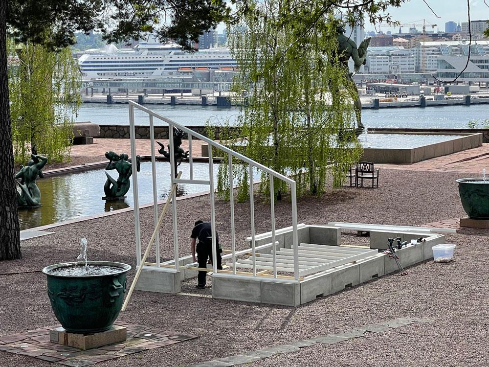 Växthus med pulpettak på Millesgården.