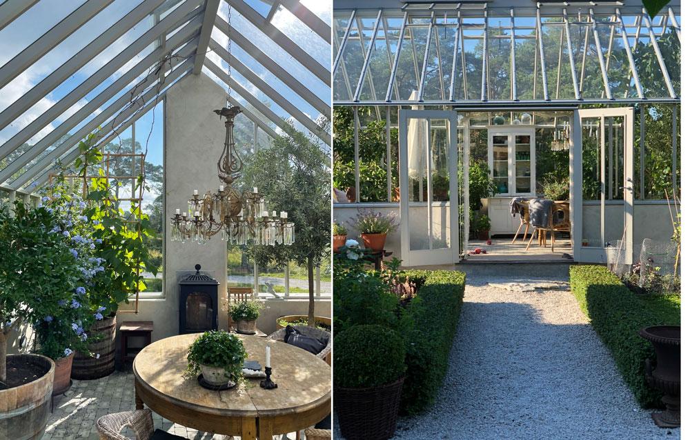 Växthus och dess inredning.